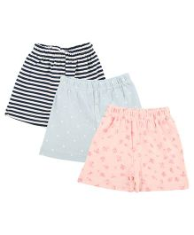 Colorfly Striped & Printed Combo Shorts Pack Of 3 - Navy Blue Pink