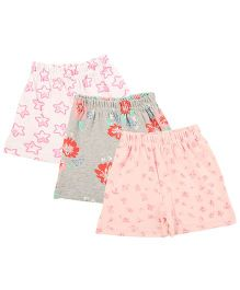 Colorfly Printed Shorts Pack Of 3 - White Grey Pink