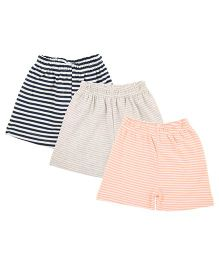 Colorfly Striped Shorts Pack Of 3 - Navy Grey Peach