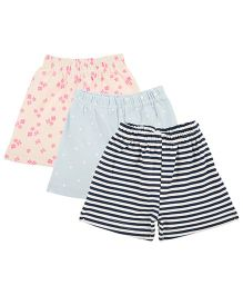 Colorfly Striped & Printed Combo Shorts Pack Of 3 - Navy Blue Cream