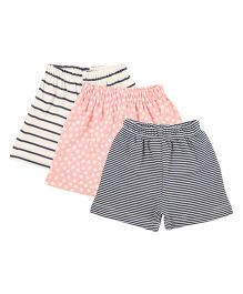 Colorfly Striped & Printed Combo Shorts Pack Of 3 - Off White Pink & Navy