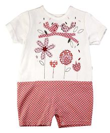Littleopia Half Sleeves Romper Flowers Patch - Pink White