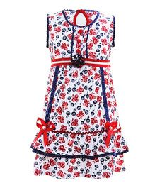 Littleopia Sleeveless Frock Floral Print - Red Blue