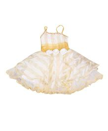 Littleopia Singlet Sleeves Party Wear Frock Floral Applique - White Golden