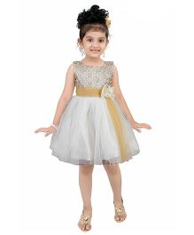 Littleopia Sleeveless Party Frock Bow & Floral Applique - Cream & Gold