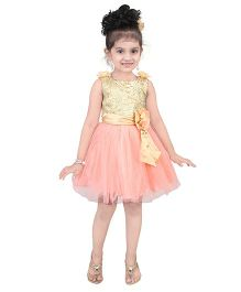 Littleopia Sleeveless Party Dress Lace Yoke & Floral Applique - Pink & Gold