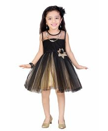Littleopia Sleeveless Party Frock Net Yoke - Black