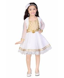Littleopia Party Frock With Shrug - Gold And White