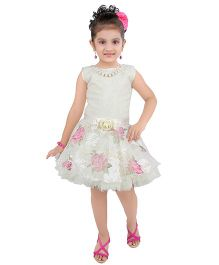 Littleopia Sleeveless Party Dress Floral Design - White And Pink