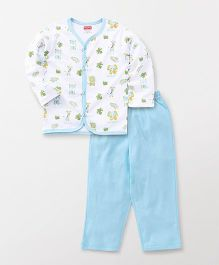 Babyhug Full Sleeves Vest And Pajama Safari Print - White Sky Blue