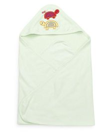 Mee Mee Hooded Bath Towel Tortoise Embroidery - Green