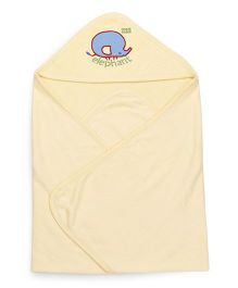 Mee Mee Hooded Bath Towel Elephant Embroidery - Yellow