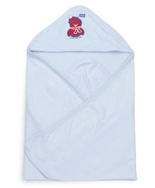 Mee Mee Hooded Bath Towel Penguin Embroidery - Blue