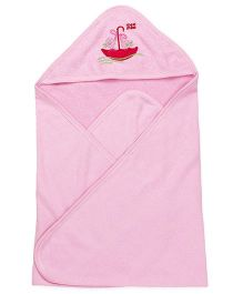 Mee Mee Hooded Bath Towel Umbrella Embroidery - Pink