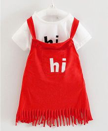 Teddy Guppies Sleeveless Frock With Top Hi Print - Red White