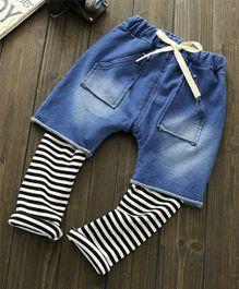 Teddy Guppies  Shorts Attached Leggings - Blue Black