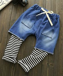Teddy Guppies Denim Shorts With Attached Stripe Leggings - Blue White Black