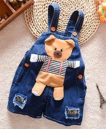 Teddy Guppies  Denim Dungaree Animal Patch - Blue