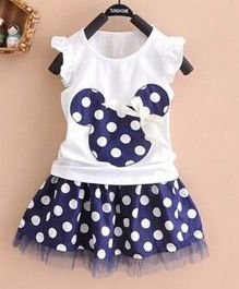 Teddy Guppies Party Wear Flutter Sleeves Top And Polka Dot Skirt -  White Dark Blue
