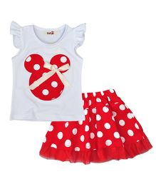 Teddy Guppies Party Wear Flutter Sleeves Top And Polka Dot Skirt - Red White