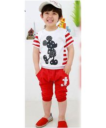 Teddy Guppies Half Sleeves T-Shirt And Bottoms Mickey Mouse Print - White Red