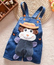 Teddy Guppies  Denim Dungaree Monkey Patch - Blue