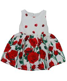 Teddy Guppies Sleeveless Frock Floral Print - White