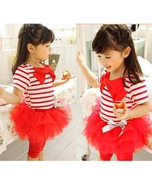 Teddy Guppies Party Wear Half Sleeves Top And Skeggings  Bow Applique- White Red