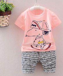 Teddy Guppies Half Sleeves T-Shirt And Printed Bottoms - Pink Black White