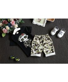 Teddy Guppies Half Sleeves T-Shirt And Camouflage Shorts - Black Green
