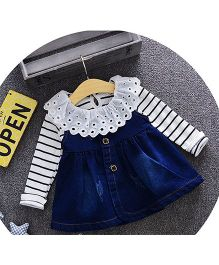 Teddy Guppies Dungaree Style Frock With Top - Blue White Black