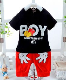 Teddy Guppies Half Sleeves Printed T-Shirt And Shorts - Black Red