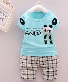 Teddy Guppies Half Sleeves T-Shirt And Check Bottoms Panda Patch - Sky Blue White