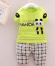 Teddy Guppies Half Sleeves T-Shirt And Check Bottoms Panda Patch - Lemon Green White