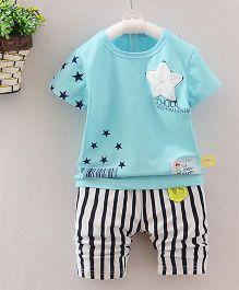 Teddy Guppies Half Sleeves T-Shirt And Stripe Bottoms Star Print - Sky Blue Black White
