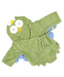 Baby Oodles Infant Bathrobe Owl Shaped - Green