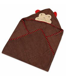 Baby Oodles Hooded Bath Towel Monkey Applique - Brown