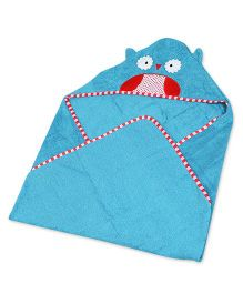 Baby Oodles Hooded Bath Wrap Owl Applique - Blue