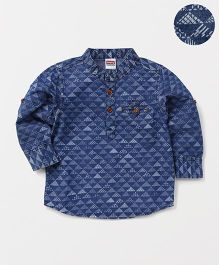 Babyhug Full Sleeves Denim Printed Shirt - Blue
