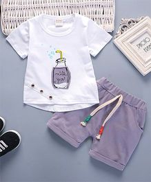 Pre Order - Superfie Set Of Bottle Printed Tee & Bottom Set For Kids - White