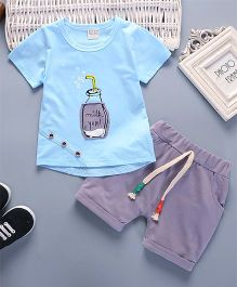 Pre Order - Superfie Set Of Bottle Printed Tee & Bottom Set For Kids - Sky Blue