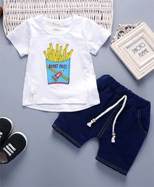 Pre Order - Superfie French Fries Printed Tee & Bottom - White