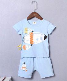 Pre Order - Superfie Spacejet Printed Tee & Bottom - Light Blue