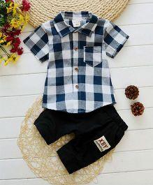 Pre Order - Superfie Set Of Checkered Shirt & Bottom - White