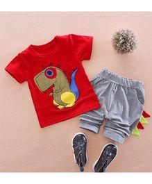Pre Order - Superfie Cute Dino Printed Tee & Bottom - Red