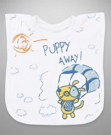 Mee Mee Bib Velcro Closure Puppy Embroidery - Blue & White