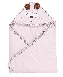 1st Step Baby Wrapper Animal Embroidery - Pink