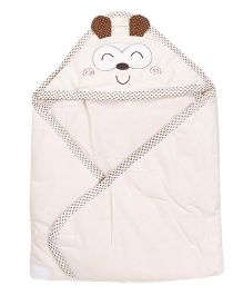 1st Step Baby Wrapper Animal Embroidery - Cream