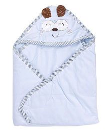 1st Step Baby Wrapper Animal Embroidery - Blue