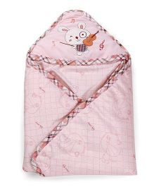 1st Step Baby Wrapper Embroidered Mouse - Pink